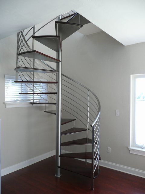 Brushed Stainless Steel Spiral Staircase With Wooden Steps